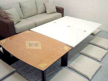 高さを自在に変えられるテーブル白い昇降テーブル