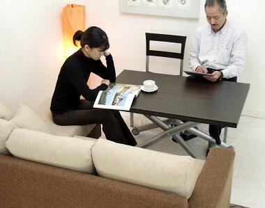 ソファに高さを合わせられる昇降式リフティングテーブル木製伸長式テーブル