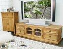 カントリー調 無垢木製 150cm幅 テレビボード カントリーテレビ台 木製ローボード リング取手 ナチュラル オイル仕上…