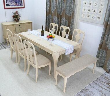 猫脚テーブル180cmと猫脚チェア6脚と猫脚ベンチ2台のセット