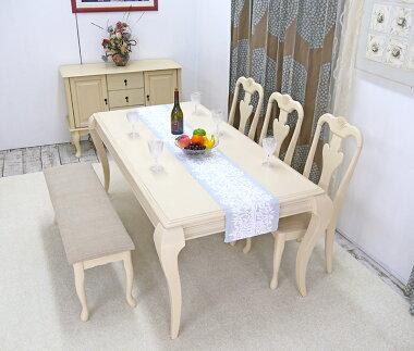 猫脚テーブル180cmと猫脚チェア3脚と猫脚ベンチ1台のセット