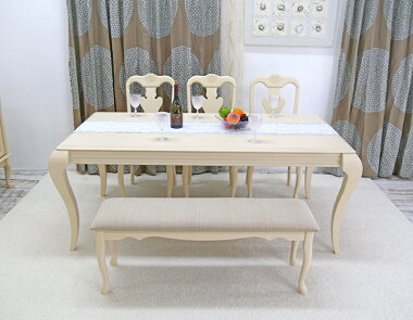 クイーンアン様式の猫脚、エレガントで優美な大型食卓テーブル5点セット