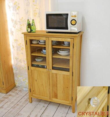 無垢木製のキャビネット,オイル仕上げの木製食器棚,本箱,クリスタル取手