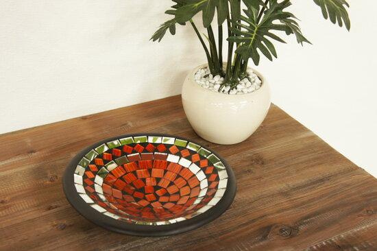 【送料無料】モザイクガラストレイSサイズ・直径20cm・オレンジ・OB-007-1OR