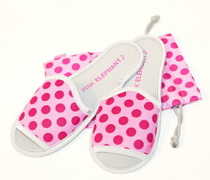 ピンクエレファントルームシューズPNK.DOT(ピンクドット)【ウエットスーツ素材の携帯スリッパ。はき心地よく、洗ってもすぐ乾くから、とっても清潔!】