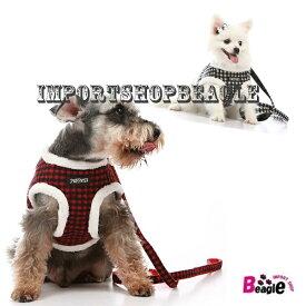 ギンガムチェックハーネス・リードセット あったか使用♪ふわふわもこもこふわふわチェックハーネス・リードセット 冬用 あったか素材 犬用品 ペットグッズ DOG セール ハーネス 小型犬 中型犬 犬 ハーネス リード セット 可愛い チェック柄 可愛い おしゃれ