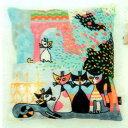 刺繍クッションカバー クッション入り ベロア調生地 ネコ キャットファミリー 45×45 【送料無料】