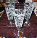 フルートグラス ワイングラス ウォーターグラス アラベスク柄 イタリア製 3点セット【送料無料】