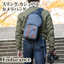 Endurance(エンデュランス)スリング カジュアル カメラバッグ  ミラーレス一眼からフルサイズまで収納可能な斜め掛けカメラバック 一眼レフ カメラケース カメラバッグ 女子 カメラバッグ ショルダー カメラポーチ おしゃれ カメラバック