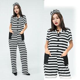 a698bb1b6bfb3 ハロウィン コスプレ 囚人服 コスプレ 囚人 ハロウィン衣装 大人用 オールインワン 泥棒 警官 仮装 ダンス衣装