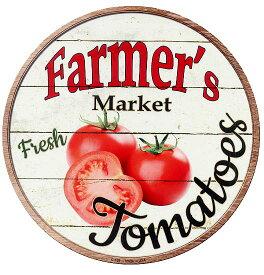 トマト アメリカンブリキ看板 TOMATOES FARMERS MARKET ラウンド 円形 アメリカン雑貨 アメリカ 雑貨 サインプレート サインボード ティンサイン メタルプレート とまと 野菜 植物 おしゃれ カフェ 店舗 ガーデニング インテリア ブリキ 看板