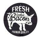 良質なベーコンブタ柄アメリカンブリキ看板Baconラウンド円形アメリカン雑貨アメリカ雑貨サインプレートメタルプレート動物おしゃれカフェバー店舗ガーデニングインテリアブリキ看板