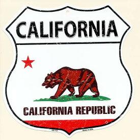 カリフォルニア州 CALIFORNIA 標識型 州旗柄 アメリカンブリキ看板 アメリカ ブリキ看板 アメリカン雑貨 アメリカ雑貨 メタルプレート 看板 おしゃれ 店舗 カフェ ガレージ インテリア カリフォルニア ベア 西海岸 フラッグ柄