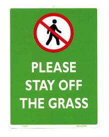 芝生に入らないで下さい PLEASE STAY OFF THE GRASS 当店Sサイズ アメリカンブリキ看板 アメリカ ブリキ看板 アメリカン雑貨 アメリカ雑貨 サインプレート メタルプレート 看板 おしゃれ カフェ バー 店舗 ガレージ インテリア