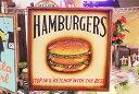 ハンバーガー★美味しそうなレトロ調木製壁飾り(MDF製)★HAMBURGERS★ハンバーガー屋さんの看板チックに飾っちゃおう!★アメリカ 雑…