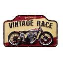 オールドバイク VINTAGE RACE エンボス加工 レトロ調 金属製壁飾り メタルプレート アメリカン雑貨 アメリカ雑貨 サインプレート サイ…