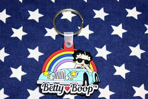 ベティ・ブープ キーホルダー ドライブ柄 ラバー製 Betty Boop アメリカ雑貨 アメリカン雑貨 キャラクター ベティちゃんグッズ
