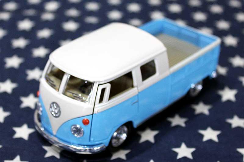 ワーゲンバス ミニカー プルバックカー 63年式 ダブルキャブ Bus Double Cab Pickup ブルー アメリカ 雑貨 クルマ 模型 フォルクスワーゲン 置き物 玩具 ガレージ 店舗 カフェ バー インテリア ミニカー
