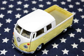 ワーゲンバス ミニカー プルバックカー 63年式 ダブルキャブ Bus Double Cab Pickup イエロー アメリカ 雑貨 クルマ 模型 フォルクスワーゲン 置き物 玩具 ガレージ 店舗 カフェ バー インテリア ミニカー