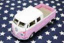 ワーゲンバス★ミニカー・プルバックカー・63年式・ダブルキャブ・Bus Double Cab Pickup・ピンク★アメリカ 雑貨 クルマ 模型 フォル…