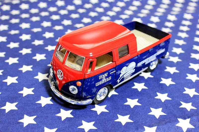 ワーゲンバス ミニカー プルバックカー 63年式 ダブルキャブ 商用車 Bus Double Cab Pickup レッド×ブルー アメリカ 雑貨 クルマ 模型 フォルクスワーゲン 置き物 玩具 ガレージ 店舗 カフェ バー インテリア ミニカー