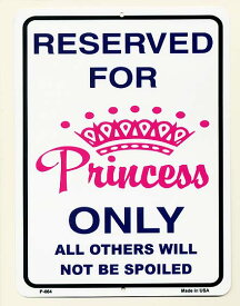 お姫様の貸し切り RESERVED FOR Princess ONLY 当店Sサイズ アメリカンブリキ看板 アメリカ ブリキ看板 アメリカン雑貨 アメリカ雑貨 サインプレート サインボード メタルプレート プリンセス おしゃれ カフェ バー 店舗 ガレージ インテリア 看板