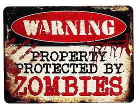 ゾンビに注意!! PROTECTED BY ZOMBIES 当店Sサイズ アメリカンブリキ看板 アメリカン雑貨 アメリカ 雑貨 サインプレート サインボード ティンサイン メタルプレート インテリア 警告系 ポスター ガレージ おしゃれ カフェ バー 店舗 ブリキ 看板 ハロウィン