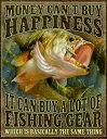 ブラックバス FISHING HAPPINESS アメリカンブリキ看板 アメリカ ブリキ看板 アメリカン雑貨 アメリカ雑貨 サインプレート メタルプレ…