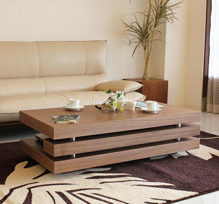 【送料無料】シンプルモダンなセンターテーブル ウォールナット突板 リビングテーブル
