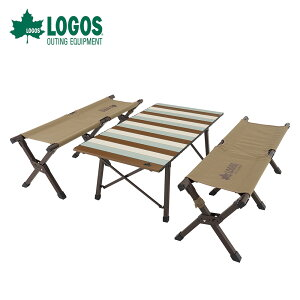 【土日もあす楽】 LOGOS ロゴス アウトドア キャンプ テーブル ベンチチェア セット LOGOS Life キャリーオンテーブルセット4 73173152 4人用 ロール式 テーブル 幅98.5cm×50cm 収束式 ベンチ キャンピ