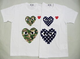 ☆COMME des GARCONS☆ PLAY ダブルドットハート赤ワンポイント刺繍Tシャツ