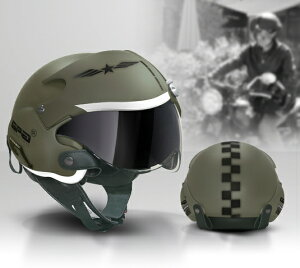 大人気のエアークラフトパイロットヘルメット再入荷!サイズの見直しと内装が取り外せる仕様になり更に快適に!!ラストチャンス!!うれしい即日発送!!マットグリーングラフィック
