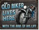 2236Old Biker - Rideオールド バイカー ライド ハーレーアメリカン雑貨 ブリキ看板Tin Sign ティンサイン3枚以上で送料無料!