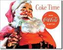 1046Santa Coke TimeCoca−Cola コカコーラ コークサンタ クリスマスアメリカン雑貨 ブリキ看板Tin Sign ティンサイン3枚以上で送料…