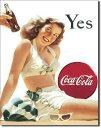 1056COKE Yes White Suitコカコーラ コーク レディアメリカン雑貨 ブリキ看板Tin Sign ティンサイン3枚以上で送料無料!