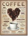 1844Heart Coffeeハート コーヒーアメリカン雑貨 ブリキ看板Tin Sign ティンサイン3枚以上で送料無料!