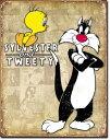 1857Tweety & Sylvester Retroトゥイーティー&シルベスターアメリカン雑貨 ブリキ看板Tin Sign ティンサイン3枚以上で送料無料!