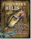 1870JQ Fisherman's Rulesブラック バスアメリカン雑貨 ブリキ看板Tin Sign ティンサイン3枚以上で送料無料!