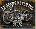1630Legends Never Die Worksハーレー インディアンアメリカン雑貨 ブリキ看板Tin Sign ティンサイン3枚以上で送料無料!