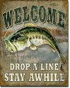 1669Welcome Bass Fishingブラック バスアメリカン雑貨 ブリキ看板Tin Sign ティンサイン3枚以上で送料無料!