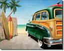 1147Retro Auto Beach Woody レトロオート ビーチウッディアメリカン雑貨 ブリキ看板Tin Sign ティンサイン3枚以上で送料無料!