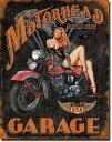 1628MOTORHEAD GARAGEモーターヘッド ガレージ ピンナップアメリカン雑貨 ブリキ看板Tin Sign ティンサイン3枚以上で送料無料!