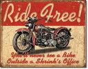 1699Ride Freeライド フリー ハーレーアメリカン雑貨 ブリキ看板Tin Sign ティンサイン3枚以上で送料無料!