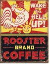 1793ROOSTER Brand Coffee コーヒーアメリカン雑貨 ブリキ看板Tin Sign ティンサイン3枚以上で送料無料!