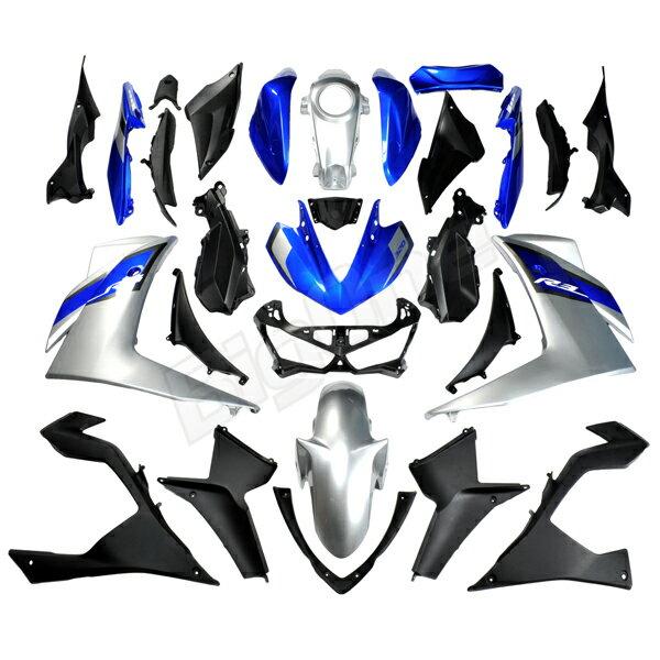 【カウル セット】 YZF-R3 EBL-RH07J 外装セット YZFR3 外装セット R3 青/銀 カウル 外装 フェンダー フロントフェンダー フロントカウル サイドカウル タンクカバー ディープパープリッシュブルーメタリック