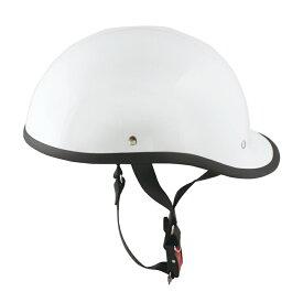 半キャップ/ハーフヘルメット ホワイト(bms-27)FRP帽体で軽くて丈夫な内装 ・サイズ 58~59cm(SG規格認定)(25cc以下対応)(Freeサイズ)
