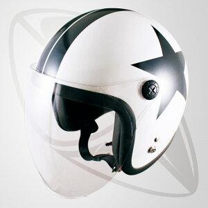 ジェット型ヘルメット パールホワイト・スター(白ベースの黒色模様)(bjl65sr)ジェットヘル(SG規格認定・全排気量OK)送料無料(一部地域除く)