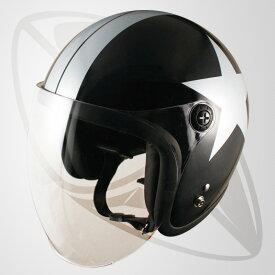 【SG規格認定】【全排気量OK】ジェット型ヘルメット ブラック/スター(黒ベースの白色模様)(bjl65sr)ジェットヘル