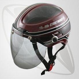半キャップ・ハーフヘルメットVintage 送料無料!(SG規格認定) (125cc以下対応) (Freeサイズ) マルーン・ブラック(bstr-z-jt-vintage) (サイズ 58~59cm)