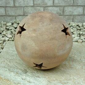 お庭づくりに ボール (ショコラカラー) ベゼル 20cm テラコッタ製 ガーデン雑貨 アンティーク オーナメント 陶器製 置物 おしゃれ ガーデニンググッズ ランプシェード 星 ガーデニング ガーデンオーナメント ナチュラル 玄関 かわいい クリスマス